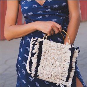 Cleobella Textured Raffia Navy & Cream Bar…